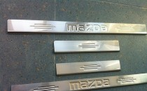 Накладки на пороги Mazda 6 GH штампованная надпись