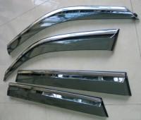 Ветровики на двери Форд Фиеста 6 с хром молдингом