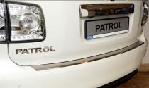 Накладка на задний бампер Ниссан Патрол Y62 (защитная накладка бампера Nissan Patrol Y62)