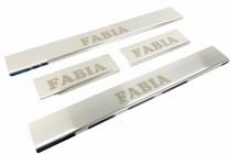 Omsa Line Хромированные накладки на пороги Skoda Fabia 2