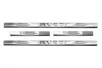 Omsa Line Хром накладки на пороги Chevrolet Aveo T250 sedan