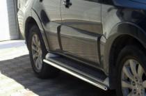 Пороги трубами на Mitsubishi Pajero Wagon 3 поколения