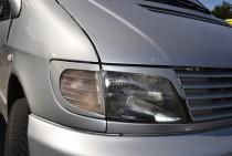 Реснички на фары Мерседес Вито 638 (Накладки фар Mercedes Vito W638 из 4 ед.)