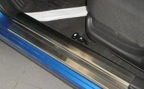 Накладки на пороги Шевроле Авео Т200 (защитные накладки Chevrolet Aveo T200)