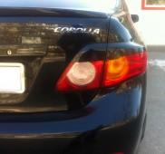 Задние реснички на фары Тойота Королла Х (накладки на стопы Toyota Corolla X)