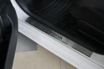 Nataniko Накладки на пороги Ниссан Тиида 1 (защитные накладки Nissan Tiida 1)