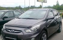 Мухобойка капота Хендай Акцент 4 длинная (дефлектор на капот Hyundai Accent 4 увеличенная)