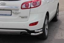 Двойные углы заднего бампера Хендай Санта Фе 2 (защитные уголки бампера Hyundai Santa Fe 2)