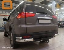 Двойные углы заднего бампера Митсубиси Паджеро Спорт 2 (силовые уголки бампера Mitsubishi Pajero Sport 2)