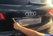 Хромированная накладка на багажник Ауди Q7 (хром накладка над номером Audi Q7)