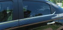 Хромированные молдинги стекол Ситроен С-Элизе (хром нижние молдинги стекол Citroen C-Elysee)