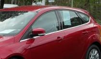 Хромированные молдинги стекол Форд Фокус 3 (хром нижние молдинги стекол Ford Focus 3)