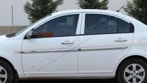 Хромированные молдинги дверей Хендай Акцент 3 (хром накладки на двери Hyundai Accent 3)