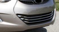 Хром накладки на решетку радиатора Хендай Элантра 5 МД (хромированные накладки на решетку радиатора Hyundai Elantra 5 MD)