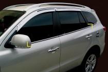 Хромированные молдинги стекол Хюндай Санта Фе 2 (хром нижние молдинги стекол Hyundai Santa Fe 2)