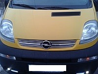 Хром накладки на решетку радиатора Опель Виваро 1 (хромированные накладки на решетку радиатора Opel Vivaro 1)