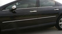 Omsa Line Хромированные молдинги стекол Пежо 407 (хром нижние молдинги стекол Peugeot 407)