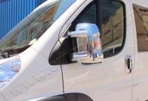 Хром накладки на зеркала Пежо Боксер 2 (хромированные накладки на боковые зеркала Peugeot Boxer 2)