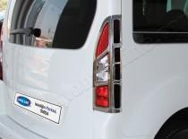 Хромированная окантовка на стопы Peugeot Partner 2 (хром накладки на стопы Пежо Партнер 2)