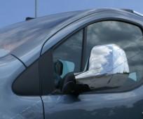 Хром накладки на зеркала Пежо Партнер 2 (хромированные накладки на боковые зеркала Peugeot Partner 2)