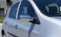 Хром накладки на зеркала Рено Клио 3 (хромированные накладки на боковые зеркала Renault Clio 3)