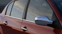 Хром накладки на зеркала Рено Меган 2 хэтчбек (хромированные накладки на боковые зеркала Renault Megane 2)