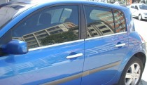 Хромированные молдинги стекол Рено Меган 2 (хром нижние молдинги стекол Renault Megane 2)