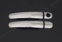 Хром накладки на ручки Шкода Румстер (хромированные накладки на дверные ручки Skoda Roomster)