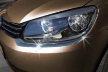 Хромированные реснички на фары Фольксваген Кадди 3 (хром накладки фар Volkswagen Caddy 3)