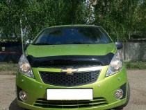 Дефлектор на капот Шевроле Спарк 3 хэтчбек (мухобойка капота Chevrolet Spark 3 Hatchback)