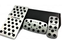 Пластины на педали Ниссан Икс-Трейл Т31 автомат (алюминиевые пластинки педалей Nissan X-Trail T31)
