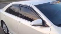 Ветровики Toyota Camry V50 с хромированным молдингом (дефлекторы окон c хромом Тойота Камри 50)