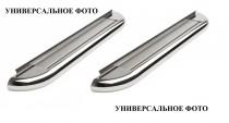 Пороги труба с листом Митсубиси Аутлендер ХЛ (пороги площадкой Mitsubishi Outlander XL)