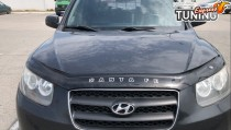 Дефлектор капота Хендай Санта Фе 2 СМ (мухобойка на капот Hyundai Santa Fe 2 CM)