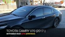 Дефлекторы окон Тойота Камри 70 с хром молдингом
