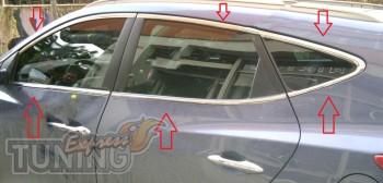 Хромированная окантовка стекол Hyundai ix35 полный комплект