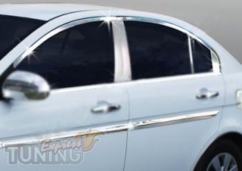 Хромированная окантовка стекол Hyundai Accent 3 полный комплект