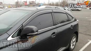 Ветровики с хромом Lexus RX 350 полный комплект