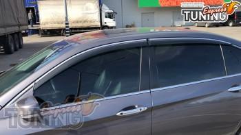 Ветровики с хромом Хонда Аккорд 9 полный комплект