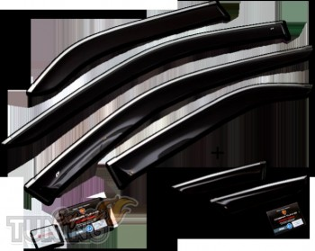 Дефлекторы окон с хром молдингом Honda Accord 8 фото