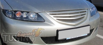 Декоративная решетка Mazda 6 седан с сеткой (фото с установки)