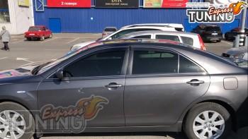 Ветровики с хром полоской Тойота Камри 40 полный комплект