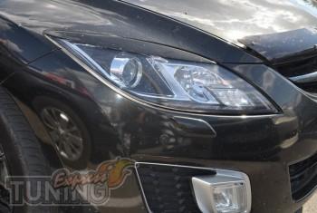 Передние реснички на фары Мазда 6 седан 2008-2012, (реснички для