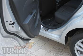 Накладки на пороги для автомобиля Шевроле Авео 3 (защитные порог