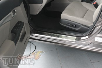 Накладки на пороги Хонда Цивик 9 4Д (защитные накладки Honda Civ