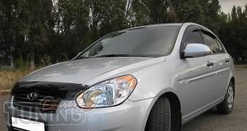Дефлектор на капот Хендай Акцент 3 (мухобойка капота Hyundai Acc