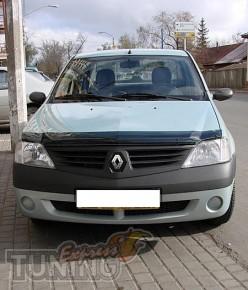 Мухобойка капота Рено Логан 1 (дефлектор на капот Renault Logan