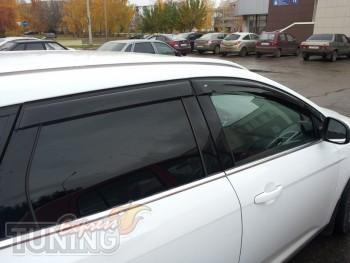 Ветровики Форд Фокус 3 универсал (дефлекторы окон Ford Focus 3 W