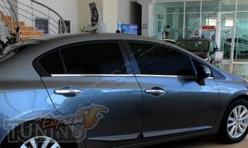 Хромированные молдинги стекол Хонда Цивик 9 (хром окантовка стек