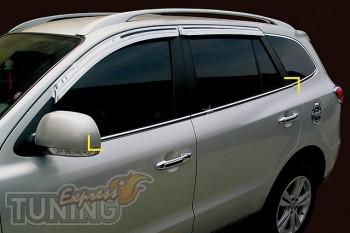 Хромированные молдинги стекол Hyundai Santa Fe 2 (хром окантовка